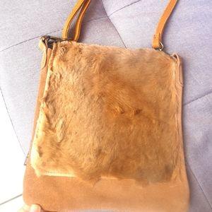 Kangaroo leather & fur handbag by UGG